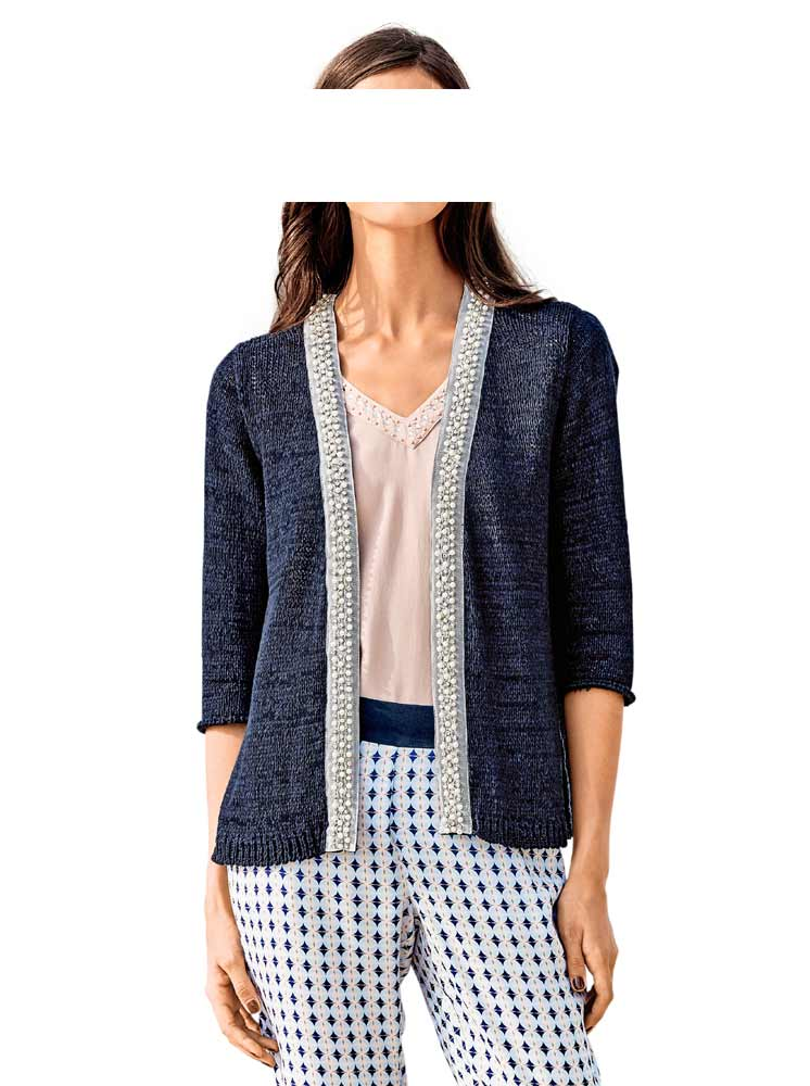 Ashley Brooke Cardigan mit Perlen Blau