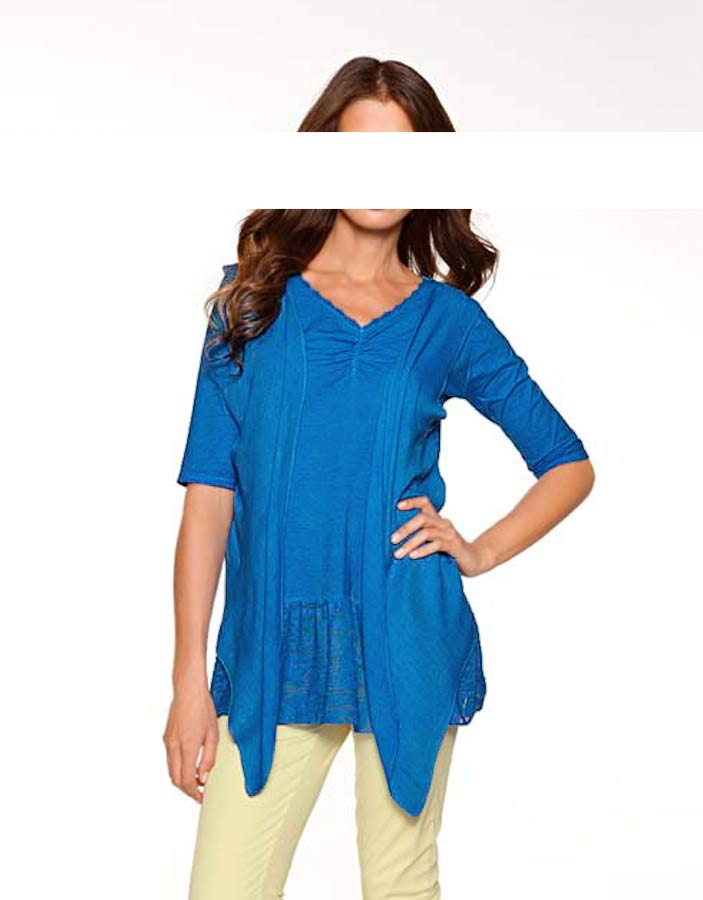 Heine Two-in-One Shirt Blau Damenshirt