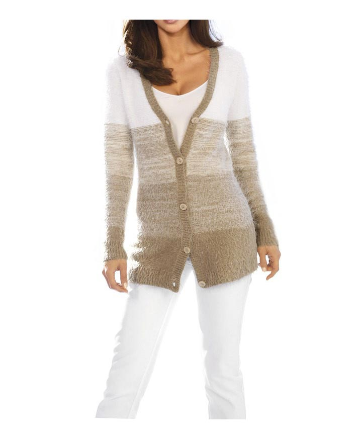 Ashley Brooke Flauschstrickjacke taupe-wollweiß
