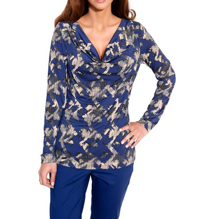 Ashley Brooke Druckshirt royalblau-stein Damenshirt