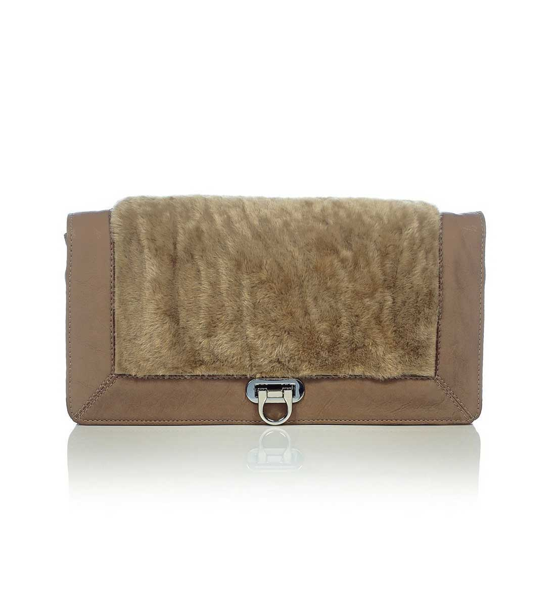 Phenomene Leder-Clutch Braun