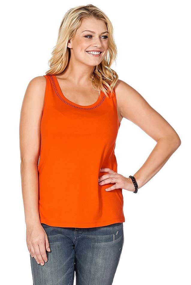 Sheego Top mit Nieten Orange Damentop
